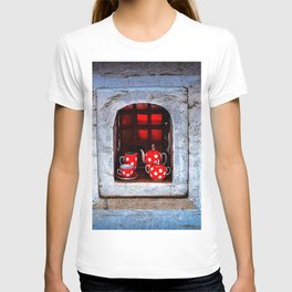 Tea Set On A Windowsill. Welcome To The Castle T-shirt