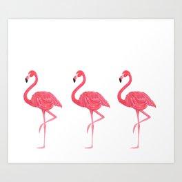 Flamingo tropical dance Art Print