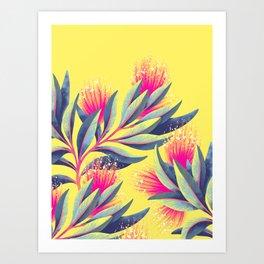 Pohutukawa - Yellow / Pink Art Print