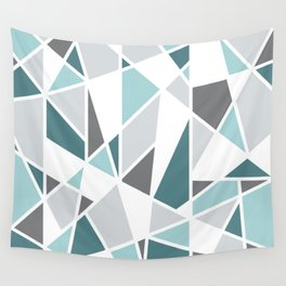 Geometric Pattern in teal and gray Wall Tapestry