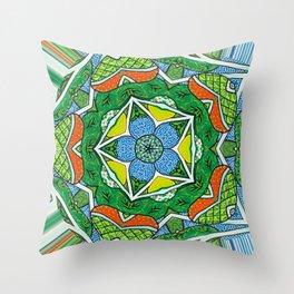 Indigo Kaleidoscope Throw Pillow