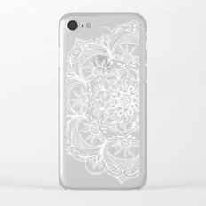 Turquoise & White Mandalas on Grey Clear iPhone Case