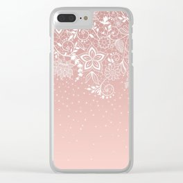 Elegant white lace floral and confetti design Clear iPhone Case
