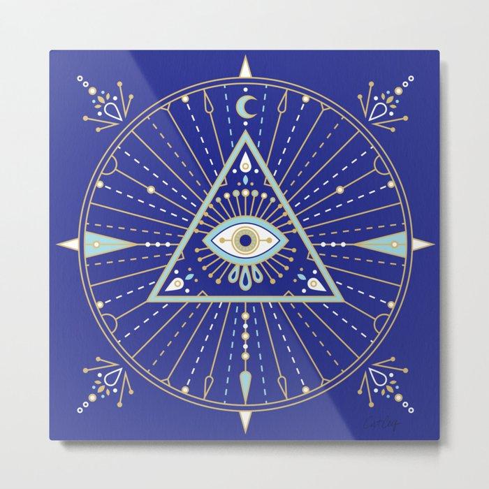 Evil Eye Mandala – Navy Metal Print