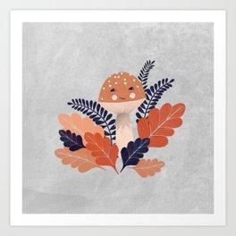 Autumn mushroom with leaves illustration Art Print