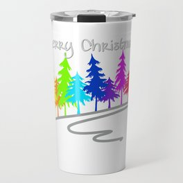 Clorful Rainbow Trees  -- Merry Christmas white Travel Mug