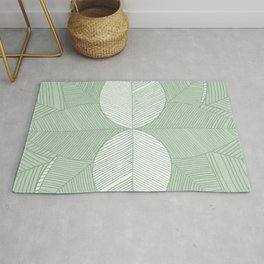 Minimal Tropical Leaves Pastel Green Rug