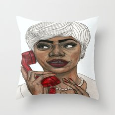 Girl with the Red Telephone Throw Pillow