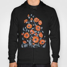 Red poppies in grey Hoody