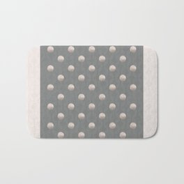 DEBUTANTE soft pink pearls on grey retro print Bath Mat