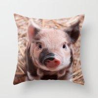 piglet Throw Pillows featuring Sweet piglet by MehrFarbeimLeben