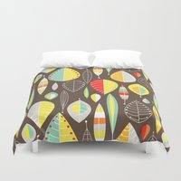 mod Duvet Covers featuring Mod Owls_Leaves by Jeannine Feierbach Designs