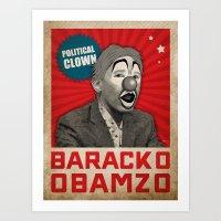 political Art Prints featuring Political Clown by politics