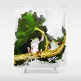 Two Frogs Under a Leaf Shower Curtain