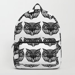 Owl Doodle hand drawn black on white background Backpack