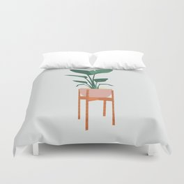 Boho mid century modern house plant and pot stand Duvet Cover