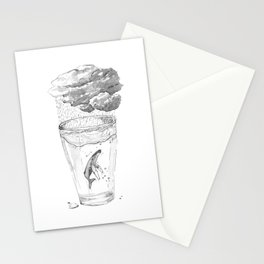 Whale in a glass Stationery Cards