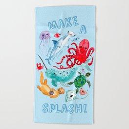 Ocean Creatures - Sea Animals Characters - Watercolor Beach Towel