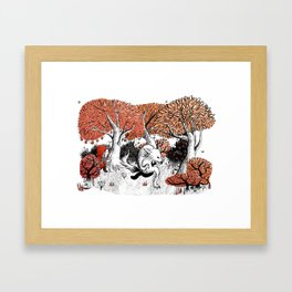 Little Red Riding Hood Print with wolf, forest Framed Art Print