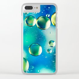 Macro Water Droplets  Aquamarine Soft Green Citron Lemon Yellow and Blue jewel tones Clear iPhone Case