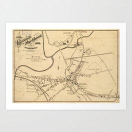 Vintage Battle of Concord Map (1875) Art Print