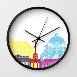 Liege skyline pop Wall Clock
