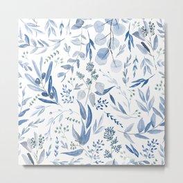 Eucalyptus Pattern - Blue Metal Print