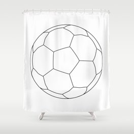 Soccer Ball Over White Shower Curtain