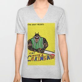 Cat with a Chainsaw Unisex V-Neck