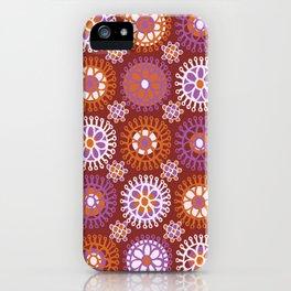 Flower Doodles Russet/Orange, circles and flower pattern iPhone Case