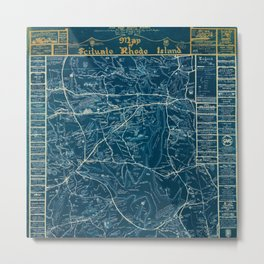 Vintage Lost Villages of Scituate, Rhode Island Map before flooding of Scituate Reservoir Metal Print