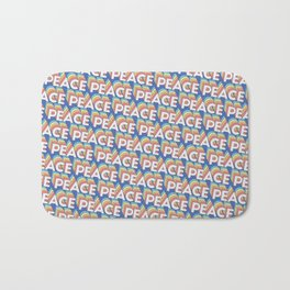 'Peace' Trendy Rainbow Text Pattern (Blue) Bath Mat