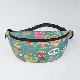 funny animals lion, kangaroo, horse, bear, mouse, raccoon, deer Fanny Pack