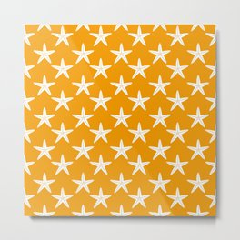 Starfishes (White & Orange Pattern) Metal Print