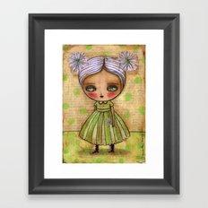 Dandelion Girl in Yellow And Green Framed Art Print