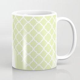 Geometric green white quatrefoil color block pattern Coffee Mug