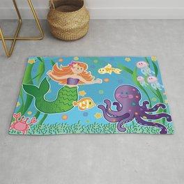 Cute Mermaid and Friends by Beebus Marble undersea, octopus, coral, colorful Rug