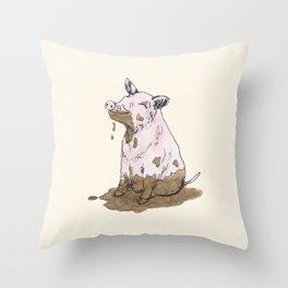 Filthy Pig Throw Pillow