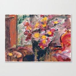 Lovis Corinth - Flower Vase on a Table Canvas Print
