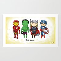 super heroes Art Prints featuring Super Cute Heroes: Avengers! by Kayla Dolby