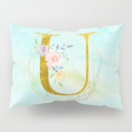 Gold Foil Alphabet Letter U Initials Monogram Frame with a Gold Geometric Wreath Pillow Sham