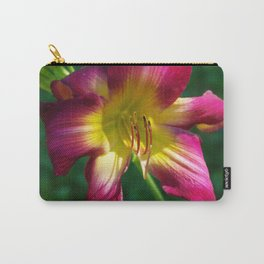 Raspberry and gold daylily flower - Hemerocallis 'Liberty Banner' Carry-All Pouch