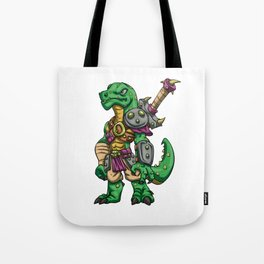 Lizard gladiator cartoon - dinosaur warrior illustration - tyrannosaurus character Tote Bag