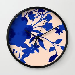 INKY BLUE FLORAL SPRAY Wall Clock