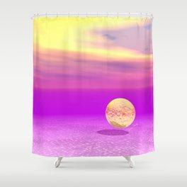 Adrift, Abstract Gold Violet Ocean Shower Curtain