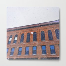 Big Snowflakes by a Brick Building on Ocean Street in South Portland, Maine Metal Print