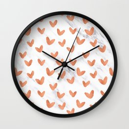 Hearts Rose Gold Marble Wall Clock