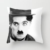 charlie chaplin Throw Pillows featuring Charlie Chaplin by Thousand Lines Ink