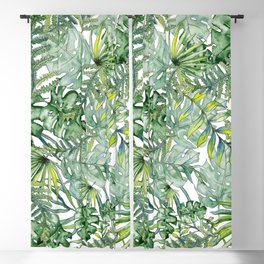 Watercolor Exotic Leaves Blackout Curtain