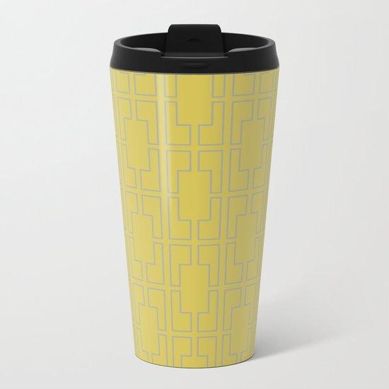 Simply Mid-Century Retro Gray on Mod Yellow Metal Travel Mug